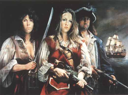 Mary Read with Anne Bonny and Calico Jack